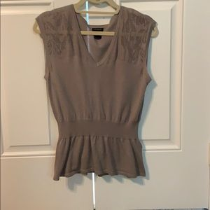 Ann Taylor Grey/tan knit sleeveless top